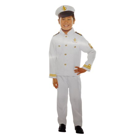 Boys Captain Halloween Costume Hat Top & Pants Medium 6-8 - Captain Hat Halloween