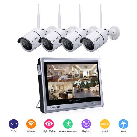 """FLOUREON 4CH 1080P WIFI NVR with 12"""" LCD Monitor Wireless Security Camera System with 4 Wireless Waterproof 720P Indoor Outdoor 100ft Night Vision Video Surveillance Camera"""