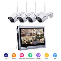 """FLOUREON 4CH 1080P WIFI NVR with 12"""" LCD Monitor Security Camera System with 4 Wifi Waterproof 720P Indoor Outdoor 100ft Night Vision Video Surveillance Camera"""
