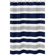 navy blue, gray and white kids bathroom fabric bath teen stripe shower curtain
