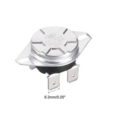 KSD302T Thermostat, Temperature Control Switch 105掳C Manual Reset N.C 6.3mm Pin - image 1 of 3