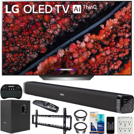 LG OLED77C9PUAB 77-inch C9 4K HDR Smart OLED TV with AI ThinQ (2019) Bundle with Deco Gear 60W Soundbar with Subwoofer, Wall Mount Kit, Deco Gear Wireless Keyboard an OLED77C9PUB OLED77C9 77C9