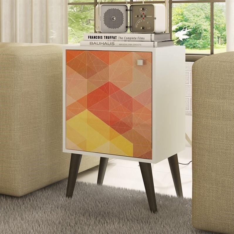 Manhattan Comfort Avesta 1.0 Series End Table in White Stamp Gray