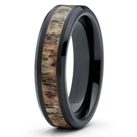 Deer Antler Tungsten Wedding Band 6mm Tungsten Ring Black Beveled Edges Comfort Fit Mens Womens
