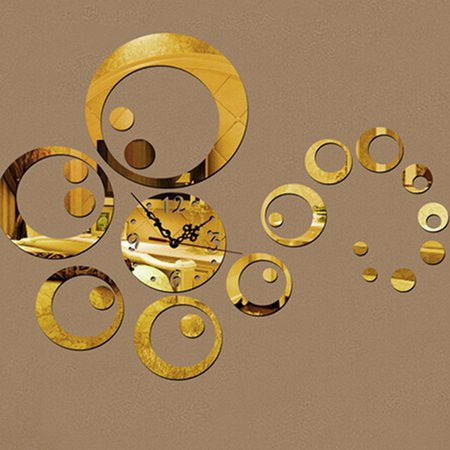 Wall Decals Circles - Circles 3D Modern Mirror Wall Clock Watches Sticker Decal Home Office DIY Decor Gold