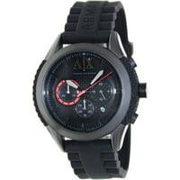 Armani AX1212 Mens Silicone Quartz Watch (Black)