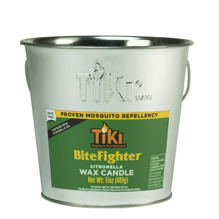 TIKI® Brand 17 oz. BiteFighter Galvanized Citronella Wax Candle Metal Bucket Silver - Colored Metal Buckets