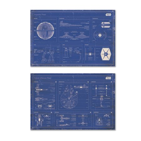 - Star Wars - 2 Piece Movie Poster Set (Imperial Fleet & Rebel Alliance Fleet Blueprints / Schematics - Horizontal) (Size: 36