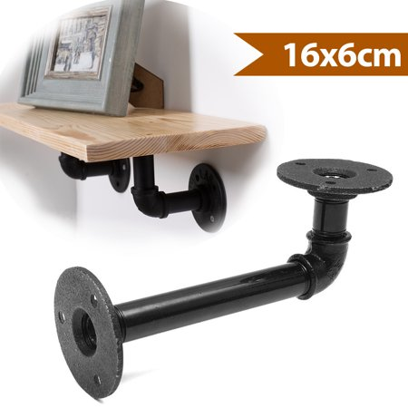 - 1Pcs 16x6cm Industrial Pipe Wall Shelf Bracket Hardware Support Rustic Hanging Wall Mount Heavy Duty Farmhouse with Screw, Black