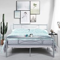 Teraves Full Metal Bed Frame Platform Base Mattress Foundation with Two Bowknot Headboards