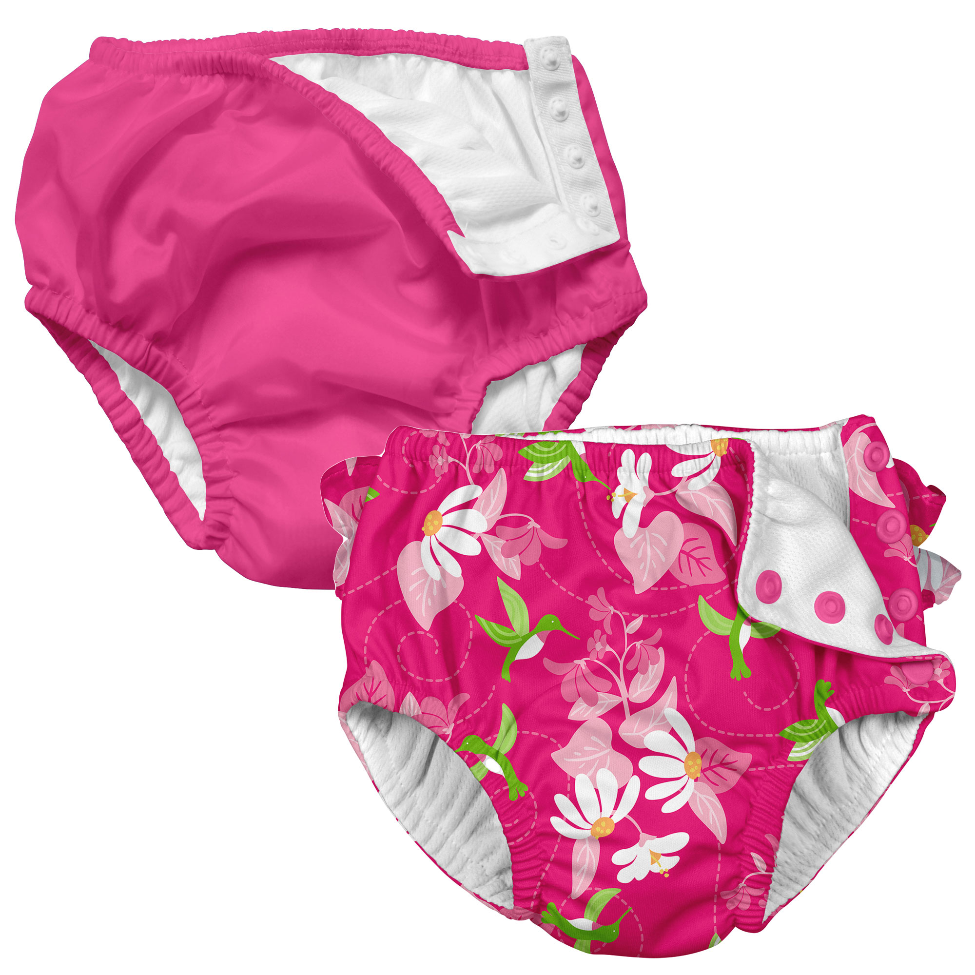 i play Baby and Toddler Snap Reusable Swim Diaper - Hot Pink and Floral Hummingbird - 2 Pack
