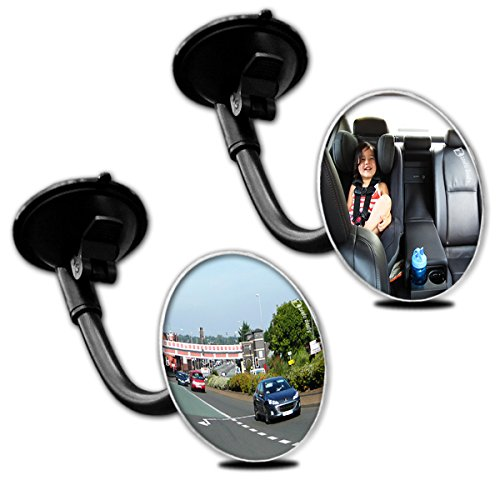 Zento Deals 2 Packs of Adjustable Blind Spot Round Convex Mirror With Suction Cup and Flexible Arm- Traffic and Baby Back Viewer