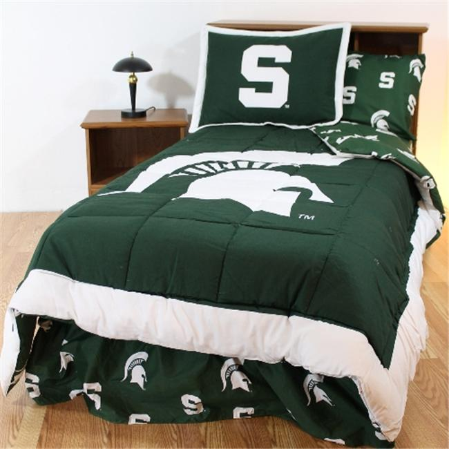 College Covers MSUBBFLW Michigan State Bed in a Bag Full- With White Sheets