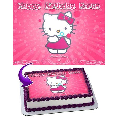 Hello Kitty Edible Cake Image Personalized Toppers Icing Sugar Paper A4 Sheet Edible Frosting Photo Cake Topper 1/4 - Walmart Hello Kitty Cake