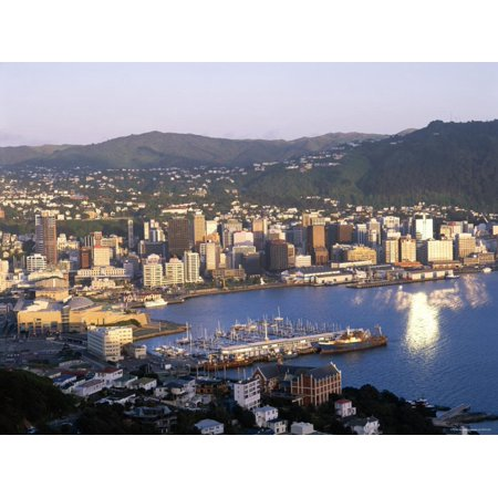 Wellington Harbour (City Skyline and Harbour, Wellington, North Island, New Zealand Print Wall Art By Steve Vidler )