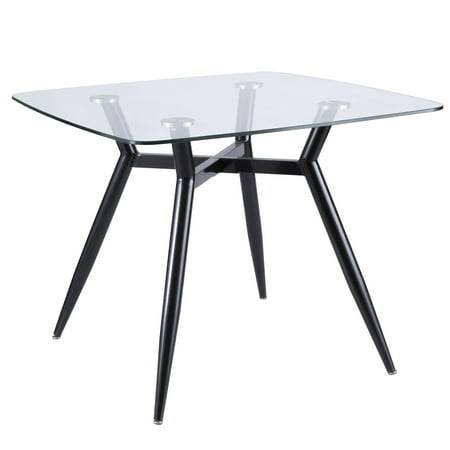 Clara Mid-Century Modern Square Dining Table with Black Metal Legs and Clear Glass Top by LumiSource ()