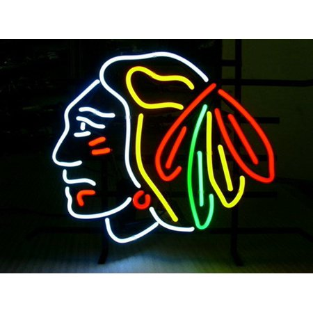 Desung Brand New Chicago Blackhawks Neon Sign Lamp Glass Beer Bar Pub Man Cave Sports Store Shop Wall Decor Neon Light 24 X 20  Wm57