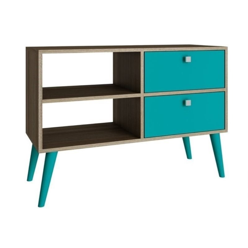 """Bowery Hill 35"""" TV Stand in Oak and Aqua"""