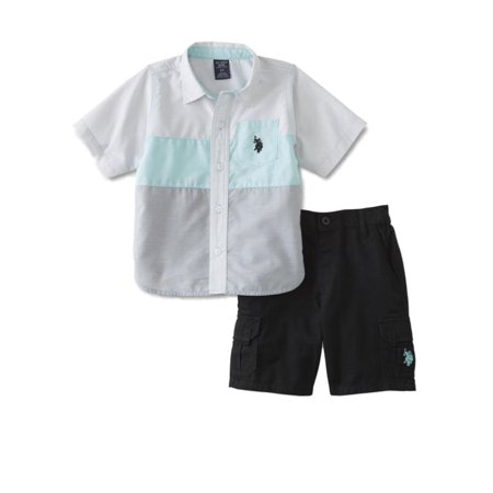 US Polo Assn Infant Boys White Teal & Gray Striped Baby Outfit Black Shorts (Us Polo Assn Glasses)