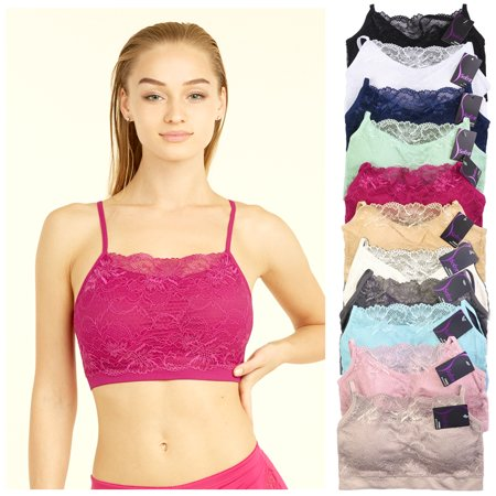 6 X Womens Seamless Lace Top Sports Bra Cleavage Cover Padded Stretch One