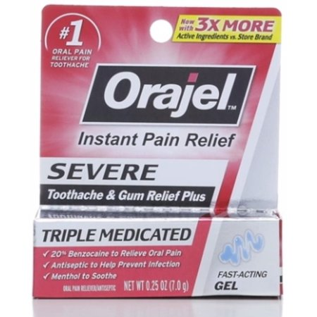 Orajel Maximum Strength Cooling Gel For Severe Toothache 0.25 oz (Pack of