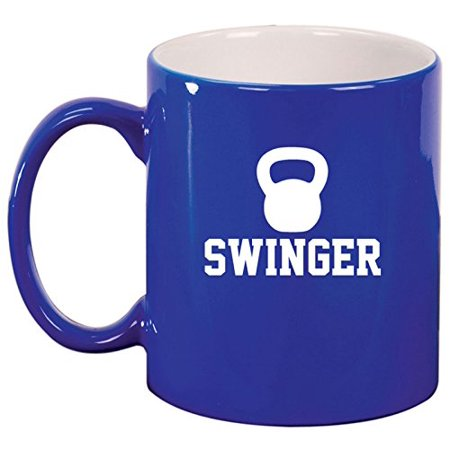 Ceramic Coffee Tea Mug Cup Swinger Kettlebell Funny Workout Fitness (Bluebell Cup)