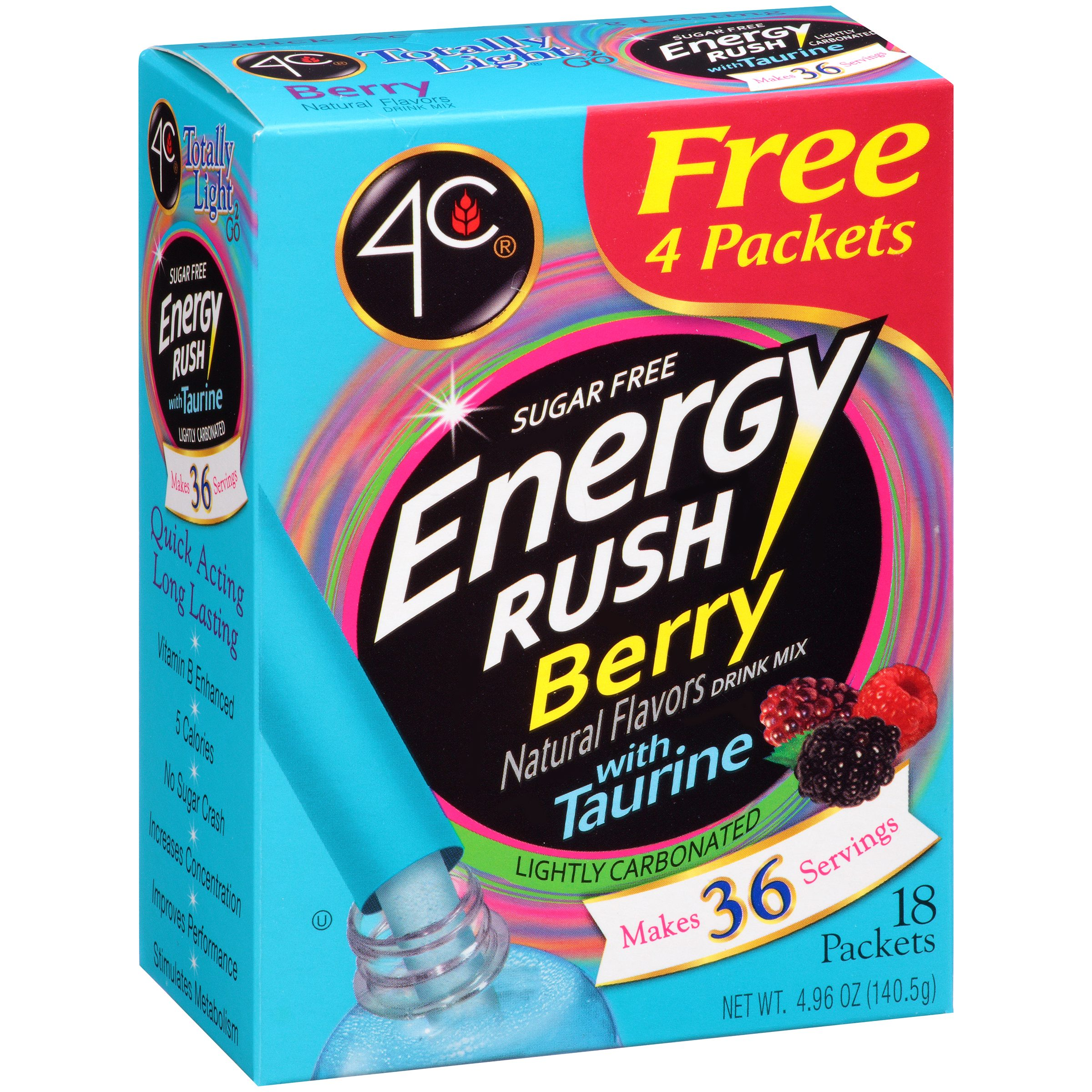 4C Totally Light 2 go Energy Rush Berry Drink Mix, 14 ct