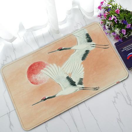 YKCG Chinese Sun Flying Storks Landscape Asian Traditional Ink Painting Doormat Indoor/Outdoor/Bathroom Doormat 30x18 inches