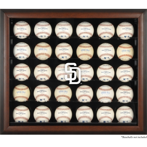 San Diego Padres Fanatics Authentic Logo Brown Framed 30-Ball Display Case - No Size