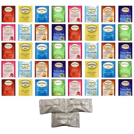 (40 count) Assorted Twinings Herbal and Black Tea, Variety Pack(8 Flavors). Includes Our Exclusive HolanDeli Chocolate Mints. Black Currant Flavored Tea