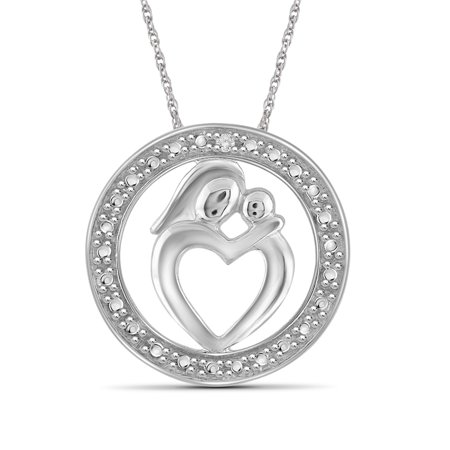 - JewelersClub White Diamond Accent Sterling Silver Mother and Child Heart with Circle Pendant