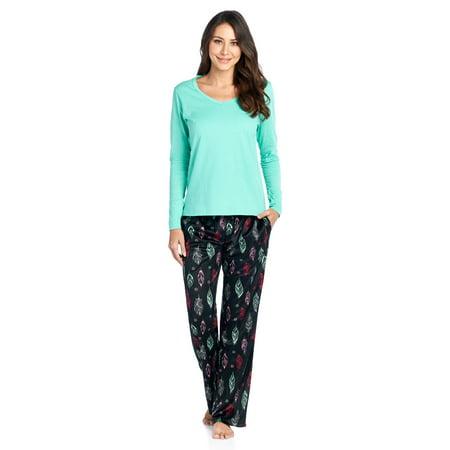 Ashford   Brooks Women s Long Sleeve Cotton Top with Mink Fleece Pants Pajama  Set - Black Stewart Plaid - X-Large - Walmart.com 0bd99e45d