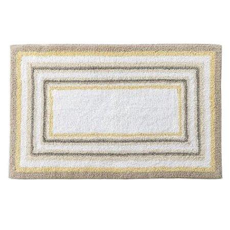 Sonoma Yellow Beige Border Stripe Plush Pile Throw Rug 23x38 Cotton Bath Mat