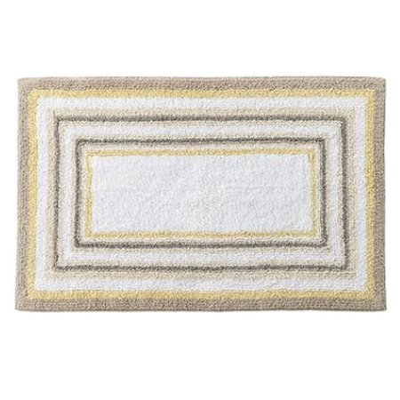 Sonoma Yellow Beige Border Stripe Plush Pile Throw Rug