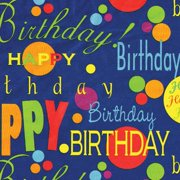 "Gift Wrap 30""x5' Roll-birthday Blue"