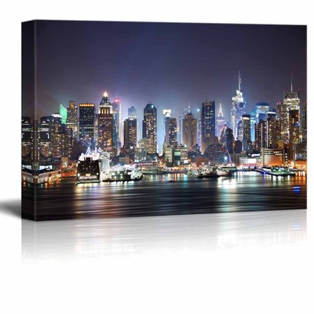 wall26 City Skyline - New York City Manhattan Skyline Panorama at Night over Hudson - 16x24