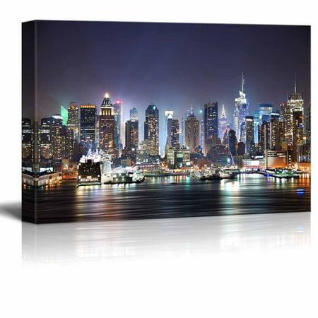wall26 City Skyline - New York City Manhattan Skyline Panorama at Night over Hudson - - Halloween Night In New York