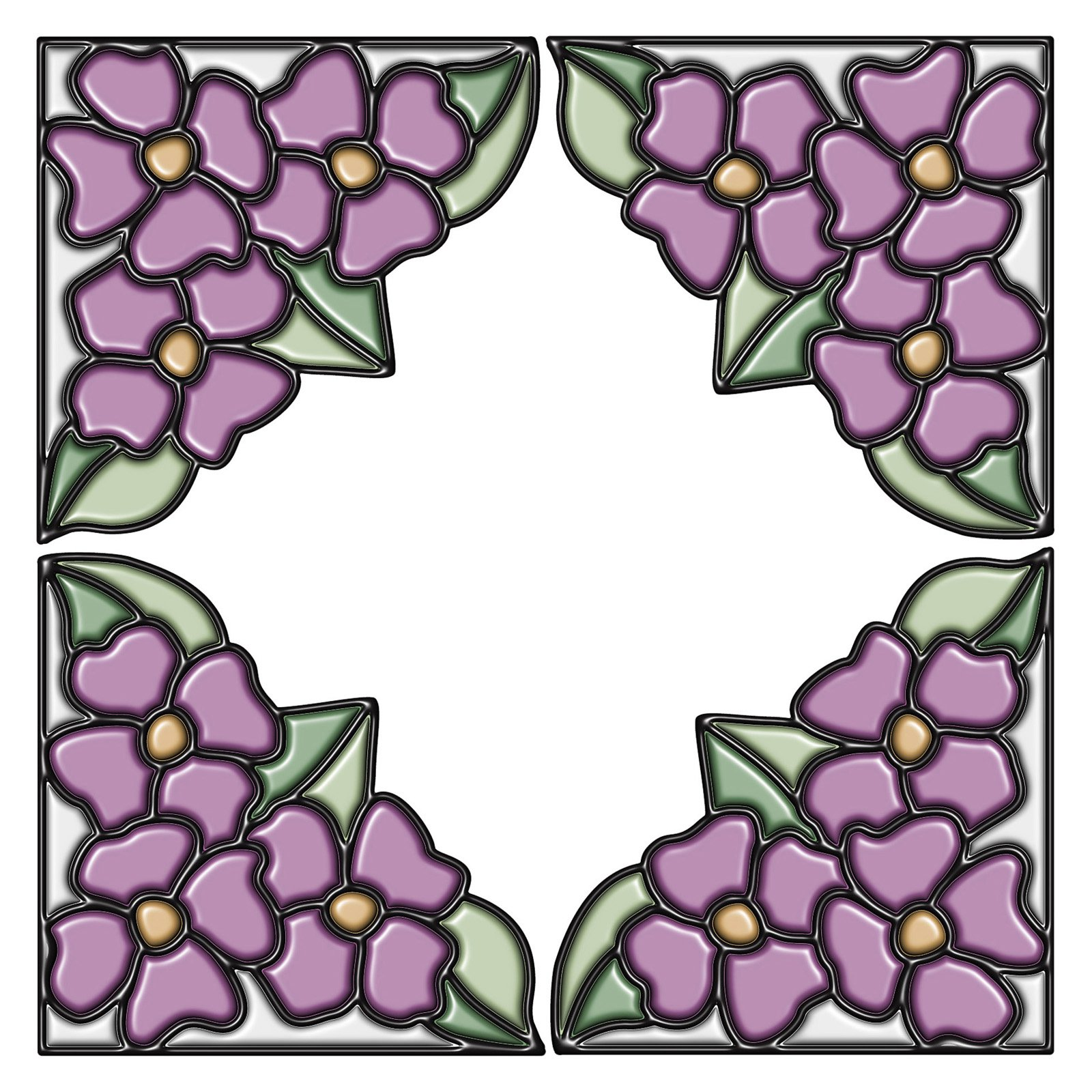 Amethyst Pansy Corners - Stained Glass
