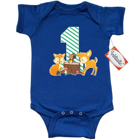 First Birthday Bodysuit (Inktastic One Years Old With Woodland Animals Infant Creeper Baby Bodysuit Birthday Cute 1 Year My 1st First Deer Squirrel Fox Gift One-piece )
