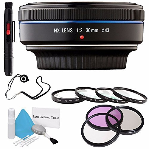 Samsung 30mm f/2.0 NX Pancake Lens (Black) EX-S30NB + 3 Piece Filter Kit + Macro Close Up Kit + Lens Cap Keeper + Deluxe Cleaning Kit + Lens Pen Cleaner 6AVE Bundle