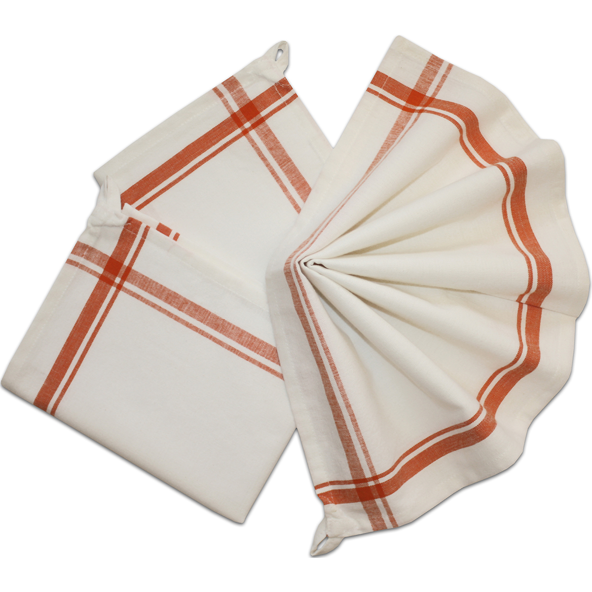 "Aunt Martha's Stitch 'Em Up Retro Stripe Towels 18""X28"" 3/Pk-Orange Stripe"
