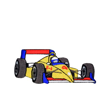 Formula One Racer - Yellow Race car - Formula One Style - Iron on Applique/Embroidered Patch