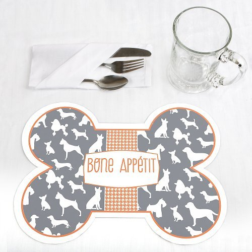 Dog Silhouettes Bone Shaped Dog Party Placemats Set of 12 by When Pooch Comes to Shove