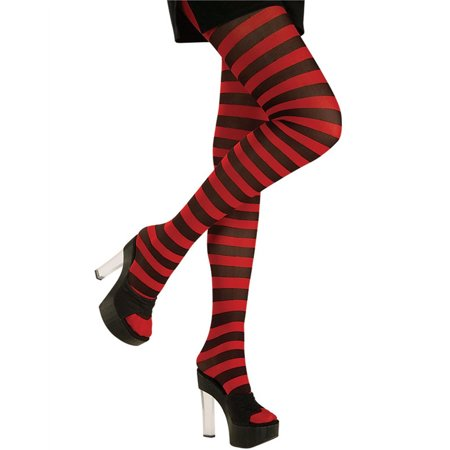 Womens  Black and Red Striped Costume Tights - Black And Red Striped Tights