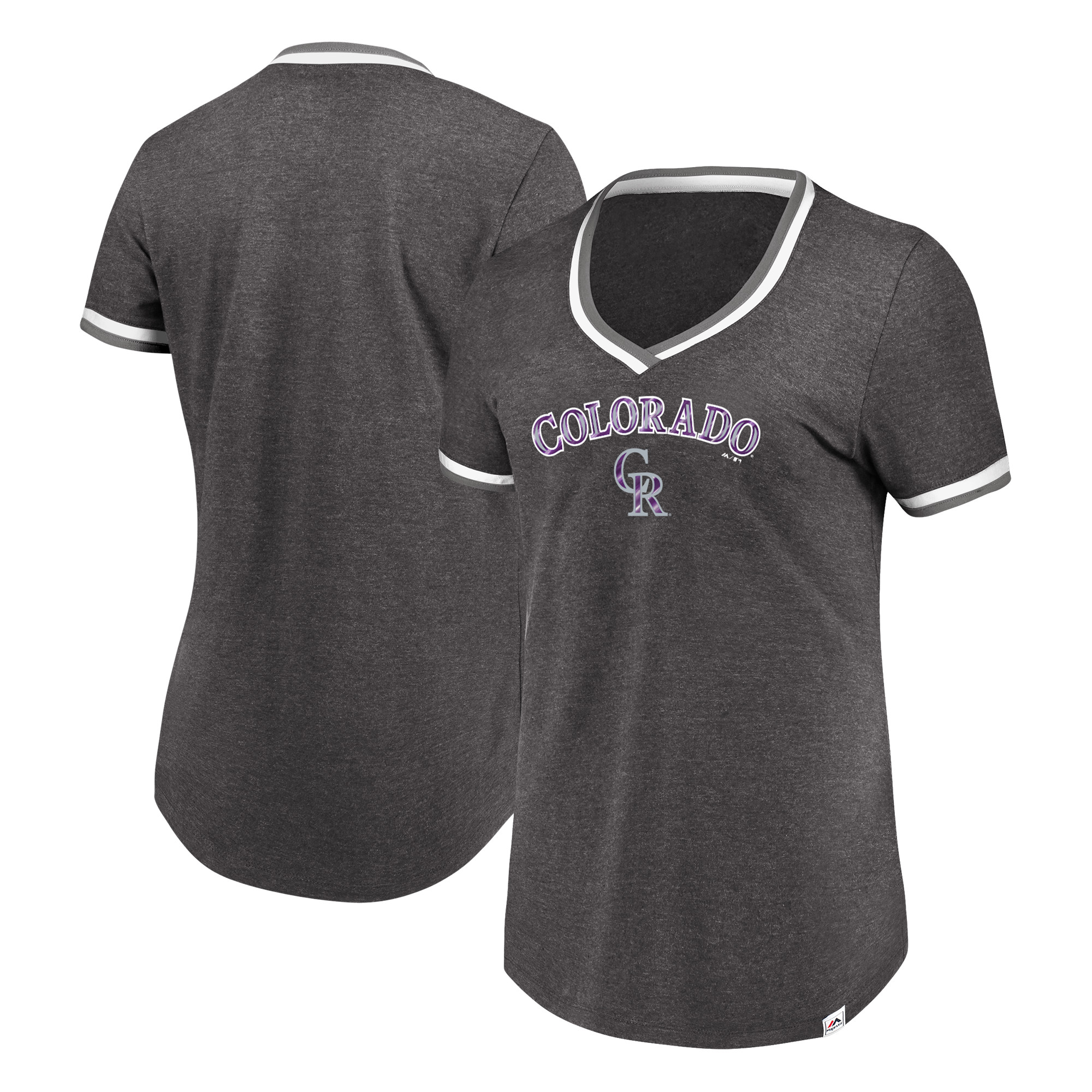 Colorado Rockies Majestic Women's Driven By Results V-Neck T-Shirt - Charcoal
