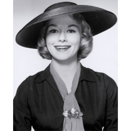Studio portrait of young woman wearing hat smiling Stretched Canvas - (24 x  36) - Walmart.com f5de6514b01b