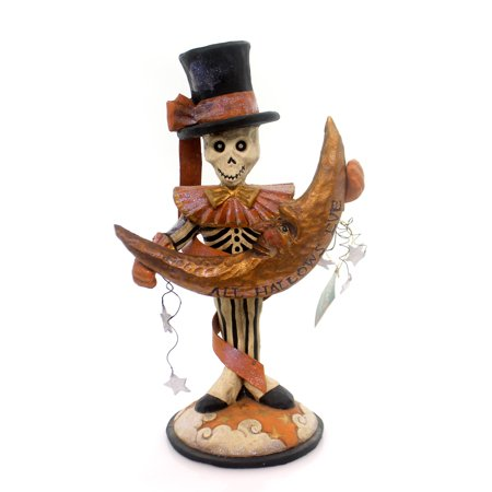Halloween SKELETON WITH MOON CARVING Polyresin Figurine Stars Bones Ps2977](Halloween Bones Game)