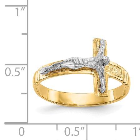 14K Rhodium Plated Yellow Gold Polished & Diamond-Cut Mens Crucifix Ring - image 1 de 2
