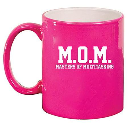 MOM Masters of Multitasking Ceramic Coffee Tea Mug Cup (Hot Pink) - Hot Mom Gif