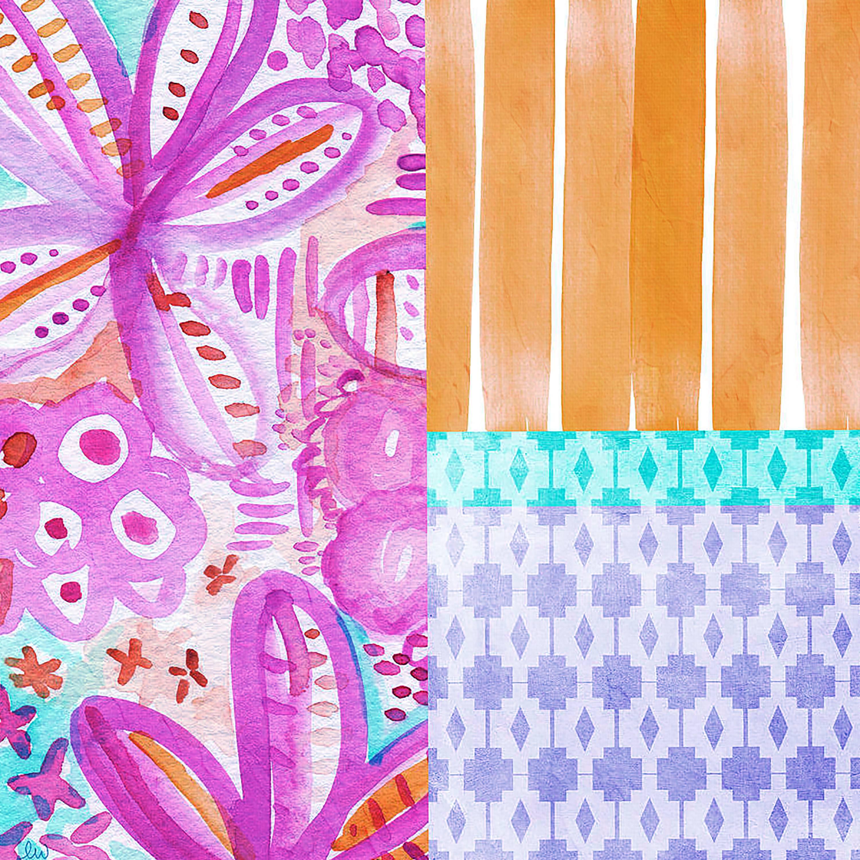 "Boho Flowers Pattern Wall Art, 20.25"" x 20.25"", Set of 2"